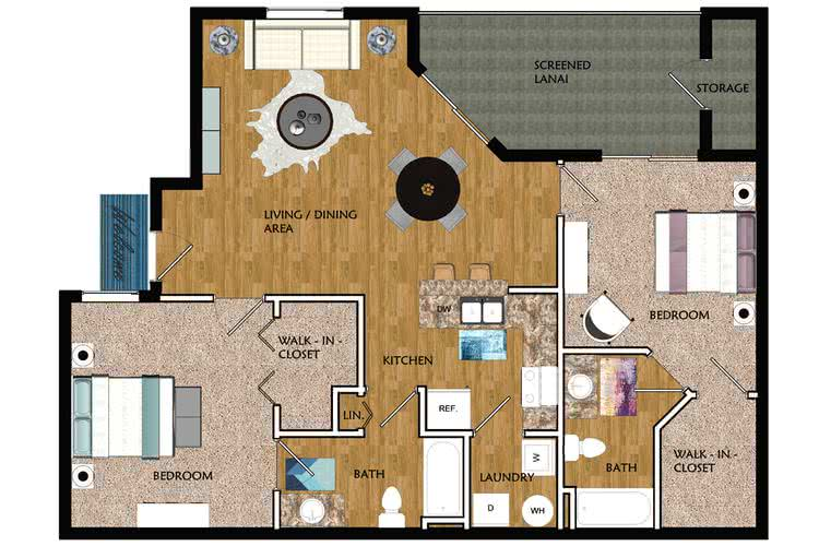 2D | Riviera contains 2 bedrooms and 2 bathrooms in 1047 square feet of living space.