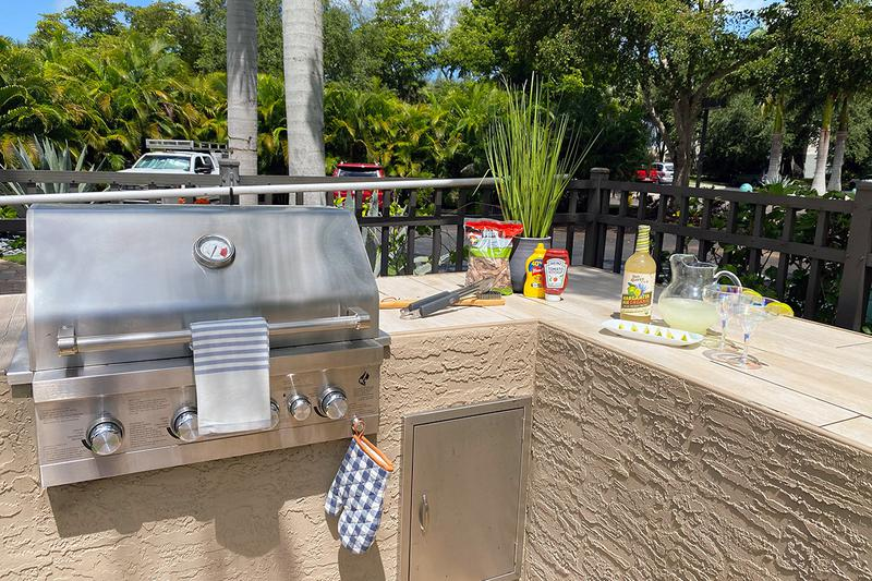 Outdoor Kitchen | Have a cookout at our outdoor kitchen featuring a gas grill.