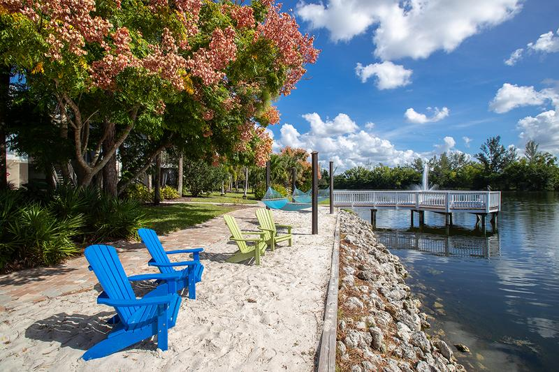 Hammock Beach Area | Relax and soak in the sun from our beach area, including hammocks.