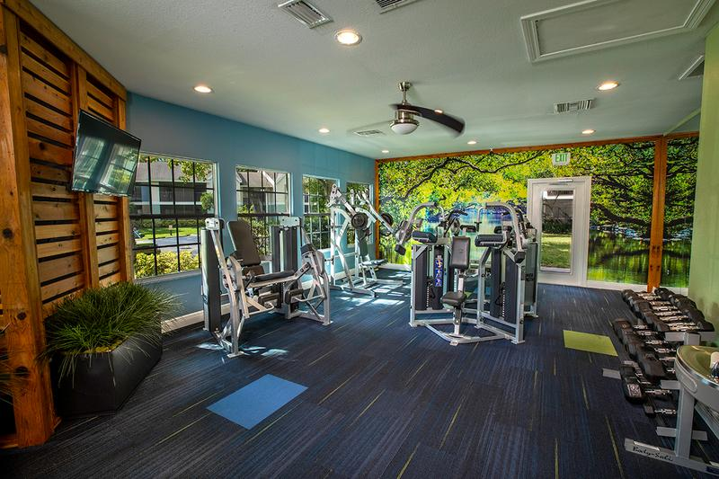 24-Hour Fitness Center | Newly designed fitness center and yoga studio. Open 24-hours a day!
