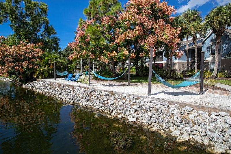 Hammock Garden | Lay out in one of our lakeside hammocks.