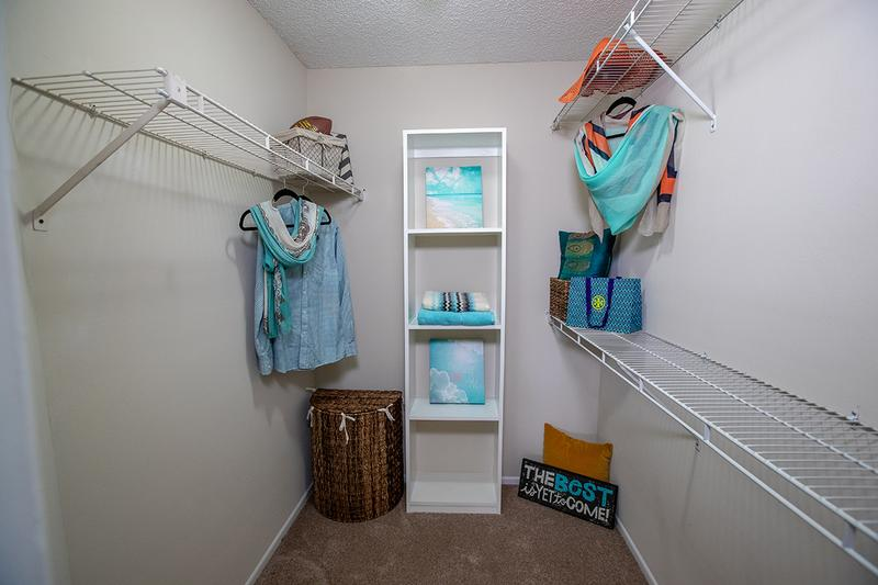 Walk-In Closet | Spacious walk-in closets with built-in organizers are featured in the master bedrooms.