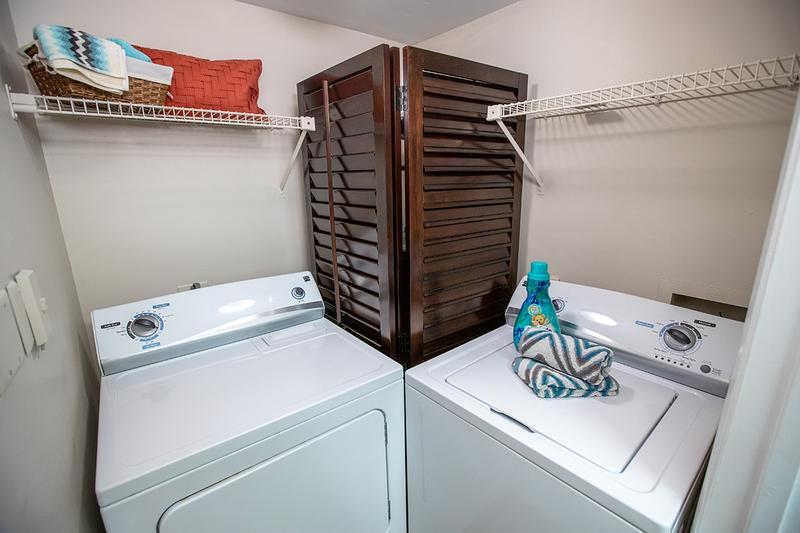 Laundry Room | Full size washer and dryer appliances in every home.