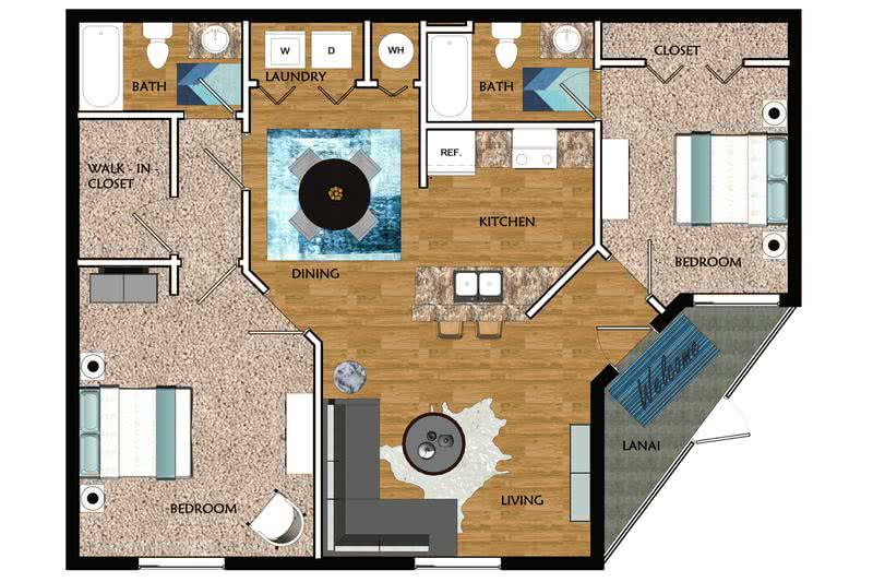 2D | The Canary contains 2 bedrooms and 2 bathrooms in 1030 square feet of living space.