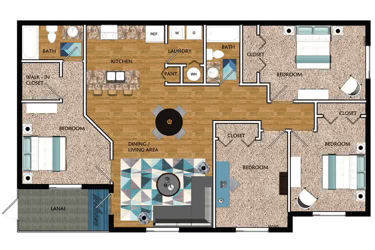 2D | The Windmill contains 4 bedrooms and 2 bathrooms in 1387 square feet of living space.