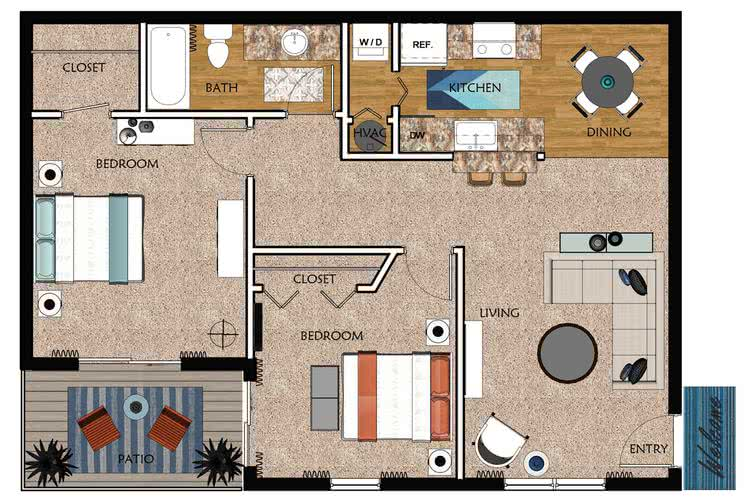 2D | Hickory contains 2 bedrooms and 1 bathrooms in 870 square feet of living space.