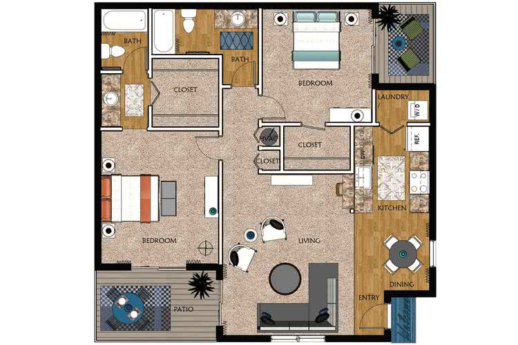 2D | Magnolia contains 2 bedrooms and 2 bathrooms in 1075 square feet of living space.