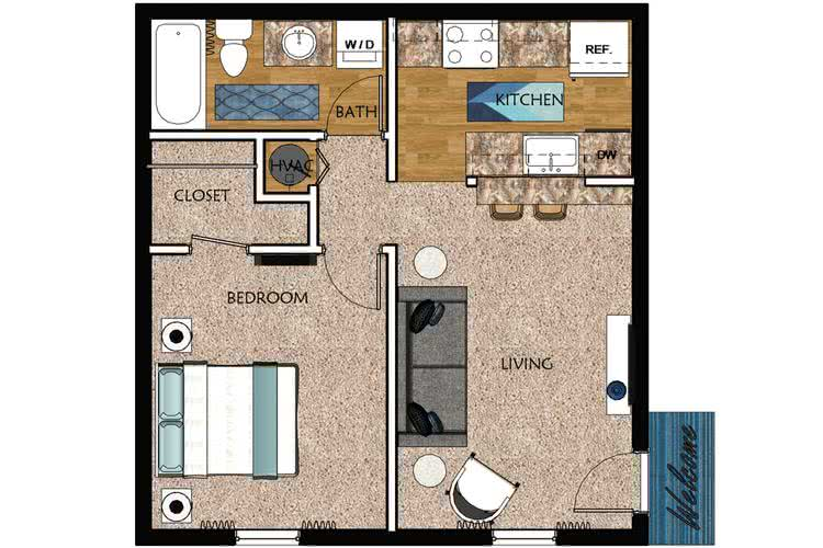 2D | Oakwood contains 1 bedroom and 1 bathroom in 505 square feet of living space.