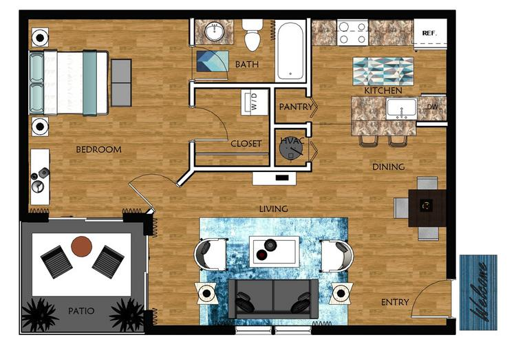 2D | Elmwood contains 1 bedroom and 1 bathroom in 740 square feet of living space.