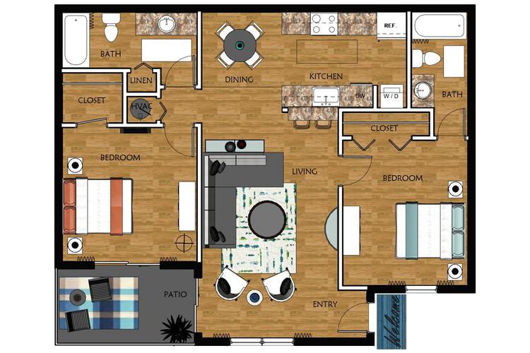 2D | Maplewood contains 2 bedrooms and 2 bathrooms in 975 square feet of living space.