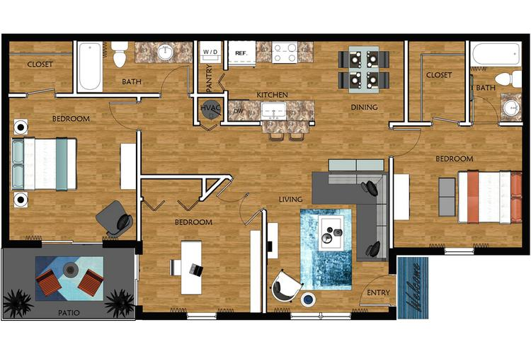 2D | Pinehurst contains 3 bedrooms and 2 bathrooms in 1120 square feet of living space.