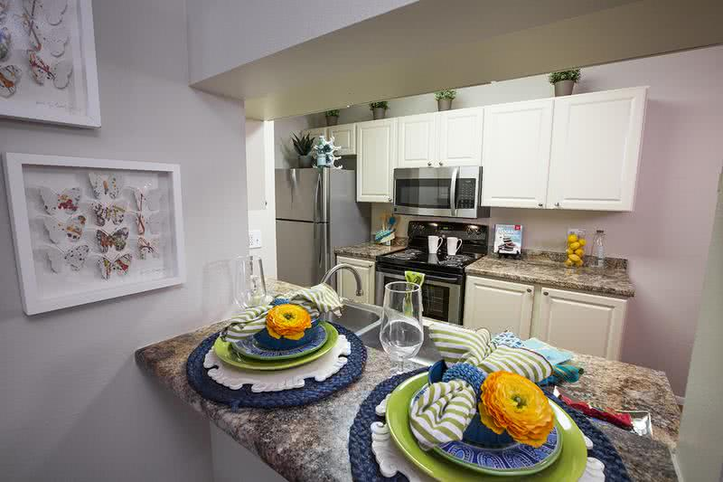 Kitchen | Newly renovated kitchens with updated countertops, cabinets and flooring.