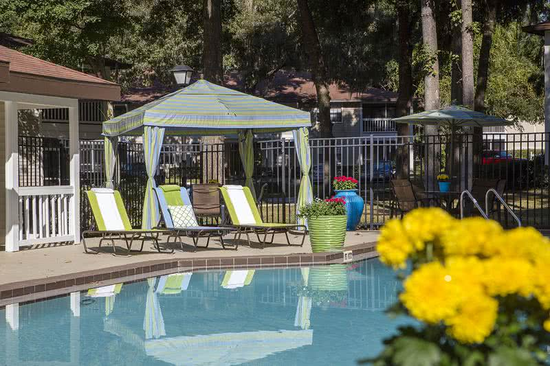 Poolside Cabanas | Relax in the shade under Carrington Lane's poolside cabanas.