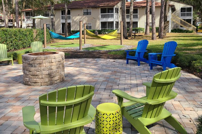 Outdoor Fire Pit | Enjoy a fire with friends at our outdoor fire pit located next to the pool.