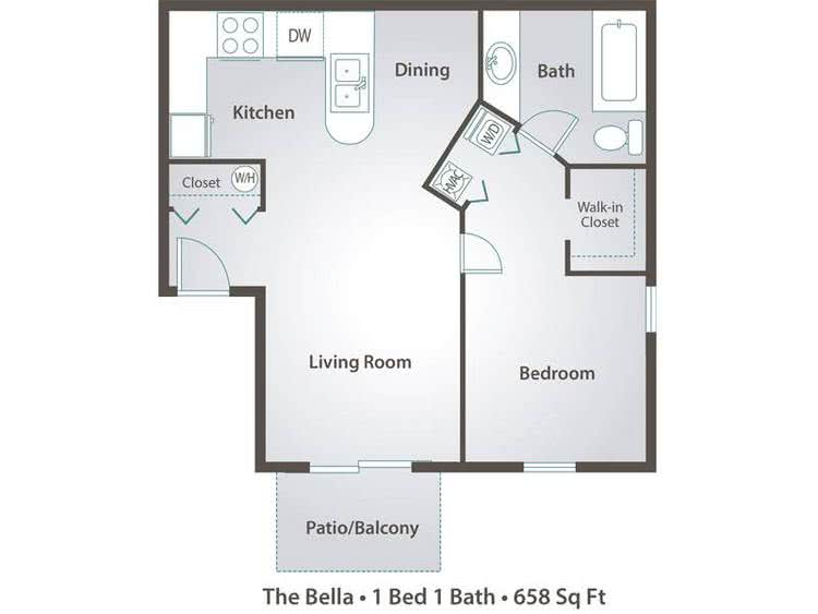 2D | The Bella contains 1 bedroom and 1 bathroom in 658 square feet of living space.