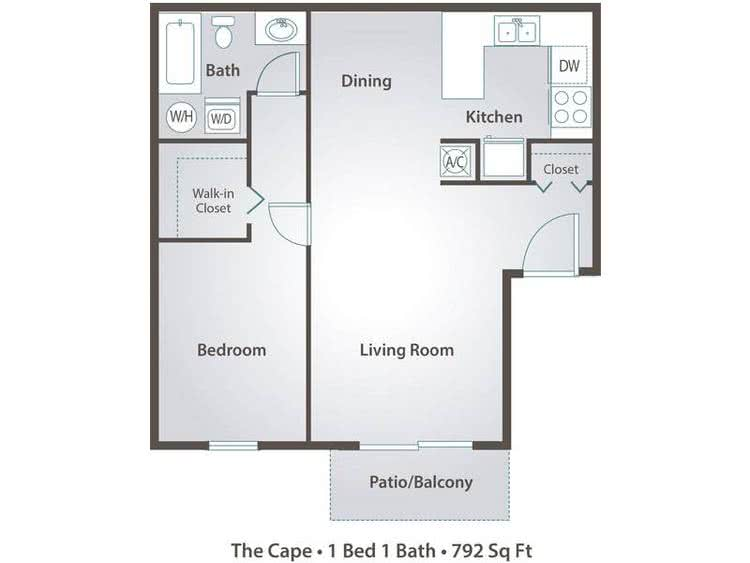 2D | The Cape contains 1 bedroom and 1 bathroom in 792 square feet of living space.