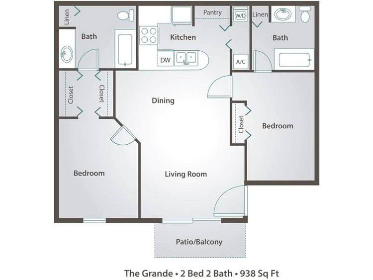 2D | The Grande contains 2 bedrooms and 2 bathrooms in 938 square feet of living space.