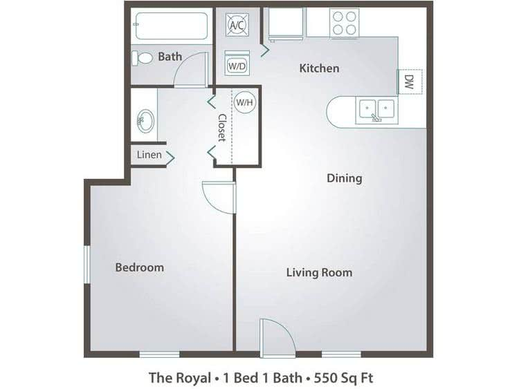 2D | The Royal contains 1 bedroom and 1 bathroom in 550 square feet of living space.