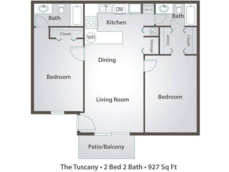2D | The Tuscany contains 2 bedrooms and 2 bathrooms in 927 square feet of living space.