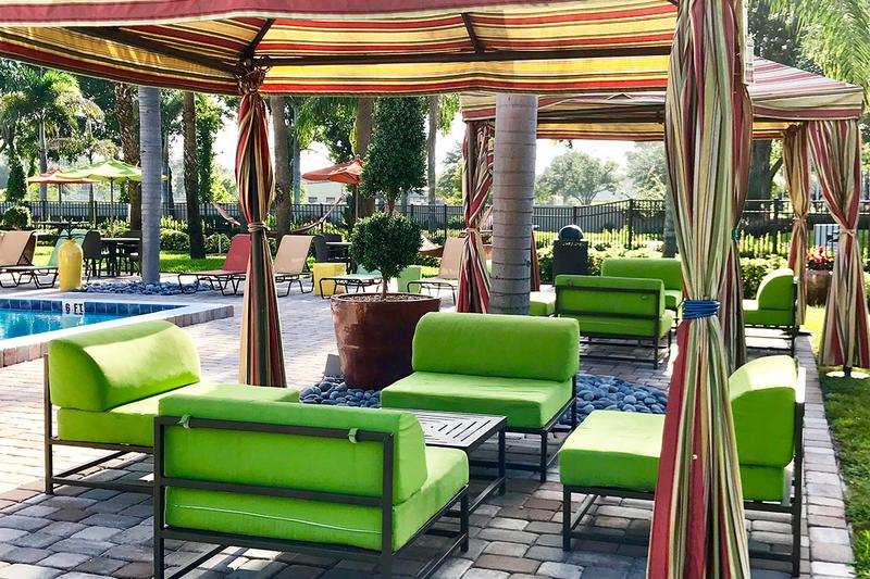 Poolside Cabanas | Relax in the shade under one of our poolside cabanas.