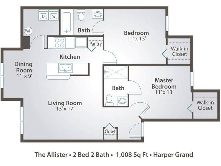 2D | The Allister contains 2 bedrooms and 2 bathrooms in 1008 square feet of living space.