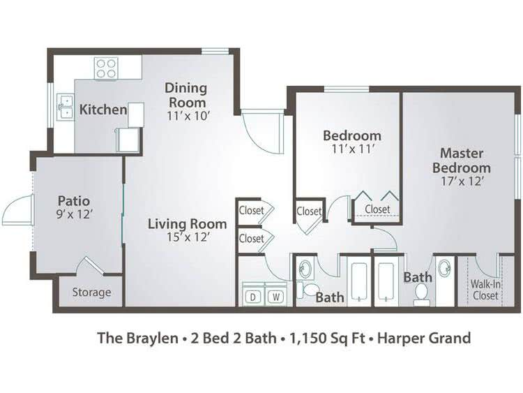 2D | The Braylen contains 2 bedrooms and 2 bathrooms in 1150 square feet of living space.
