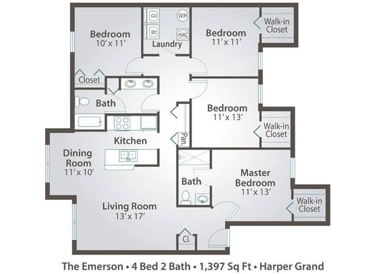 2D | The Emerson contains 4 bedrooms and 2 bathrooms in 1397 square feet of living space.