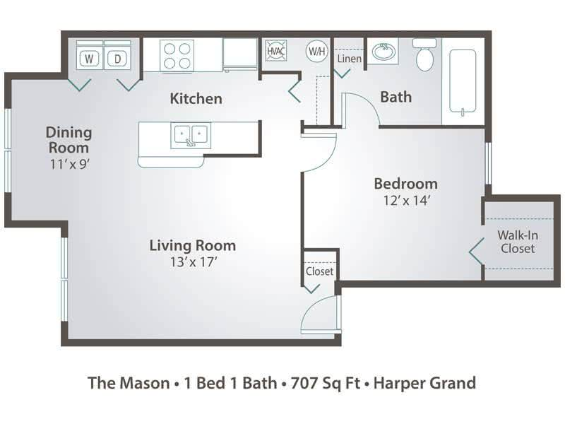 2D | The Mason contains 1 bedroom and 1 bathroom in 707 square feet of living space.