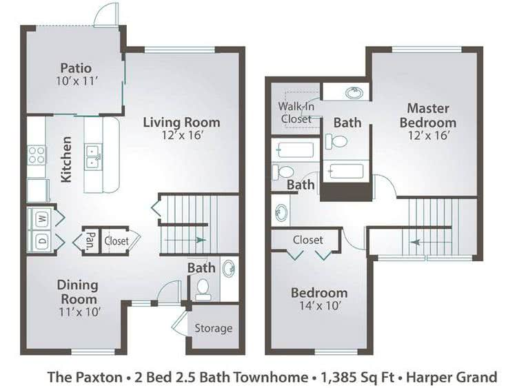 2D | The Paxton contains 2 bedrooms and 2.5 bathrooms in 1385 square feet of living space.