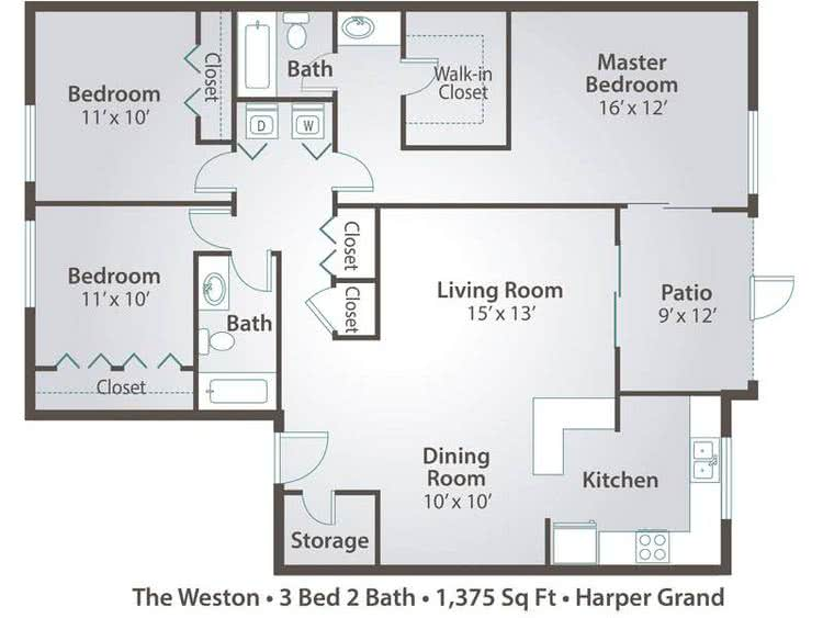 2D | The Weston contains 3 bedrooms and 2 bathrooms in 1375 square feet of living space.