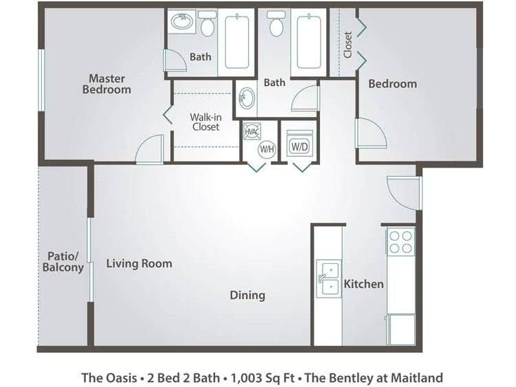 2D | The Oasis contains 2 bedrooms and 2 bathrooms in 1003 square feet of living space.