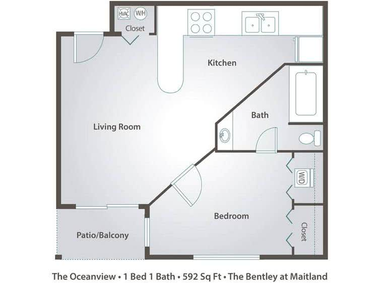 2D | The Oceanview contains 1 bedroom and 1 bathroom in 592 square feet of living space.