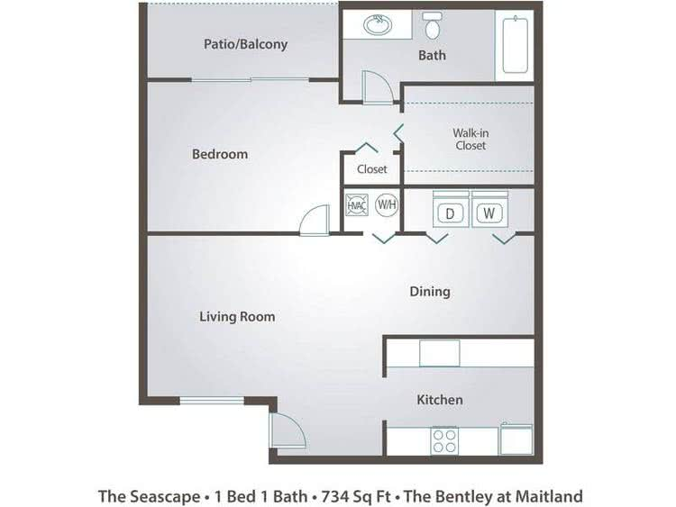 2D | The Seascape contains 1 bedroom and 1 bathroom in 734 square feet of living space.