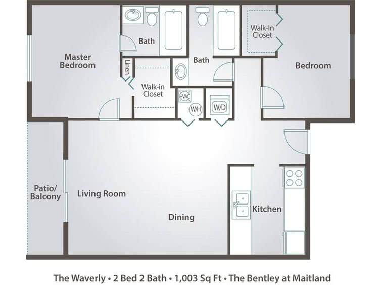 2D |  The Waverly contains 2 bedrooms and 2 bathrooms in 1003 square feet of living space.
