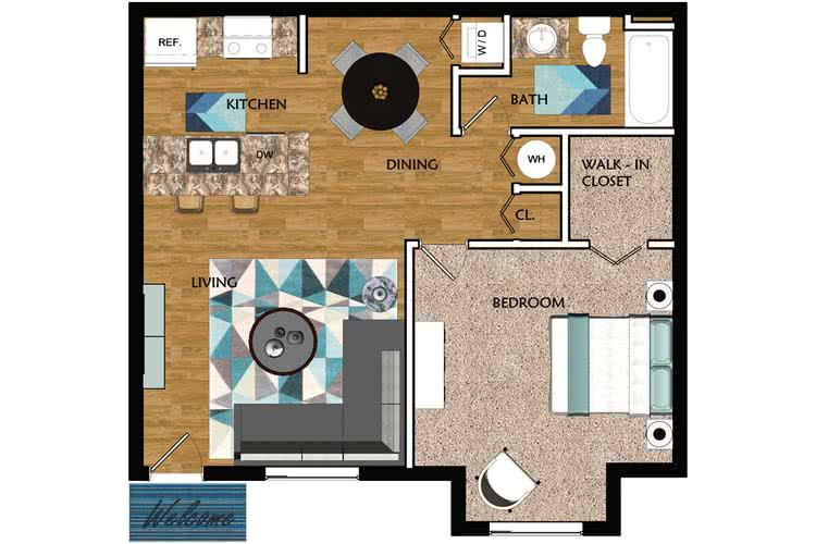 2D | The Allister contains 1 bedroom and 1 bathroom in 650 square feet of living space.