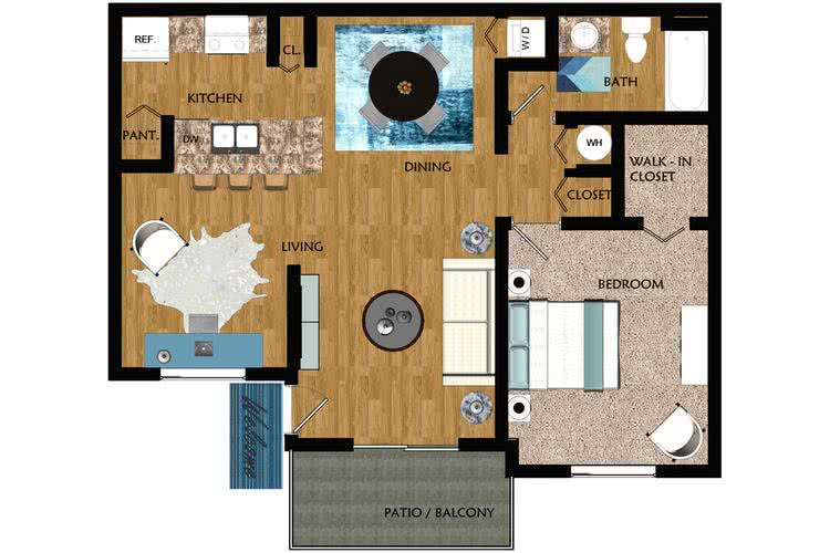 2D | The Cypress contains 1 bedroom and 1 bathroom in 775 square feet of living space.