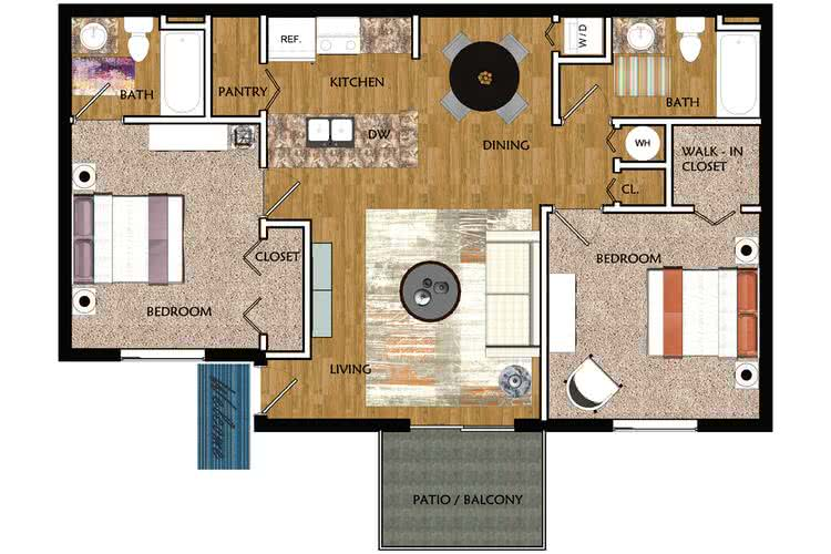 2D | The Palm contains 2 bedrooms and 2 bathrooms in 860 square feet of living space.