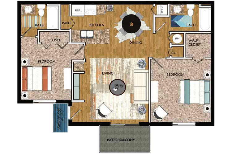 2D | The Tarpon contains 2 bedrooms and 2 bathrooms in 930 square feet of living space.