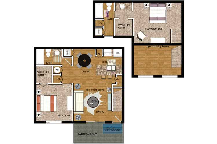 2D | The Vista contains 2 bedrooms and 2 bathrooms in 900 square feet of living space.