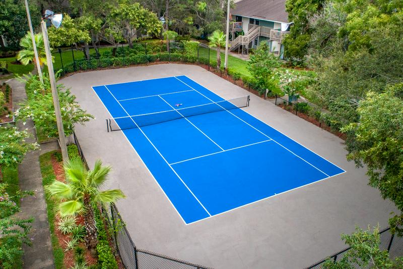 Tennis Court | An aerial view of our regulation sized tennis court.