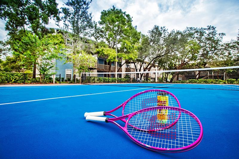 Tennis Court | Get in a game of tennis at our tennis court. We also have a racquetball court on-site!