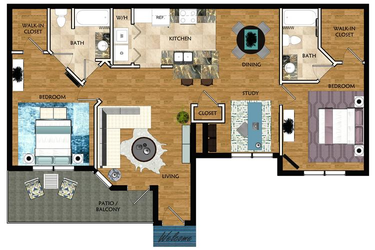 2D | The Florence contains 2 bedrooms and 2 bathrooms in 1456 square feet of living space.