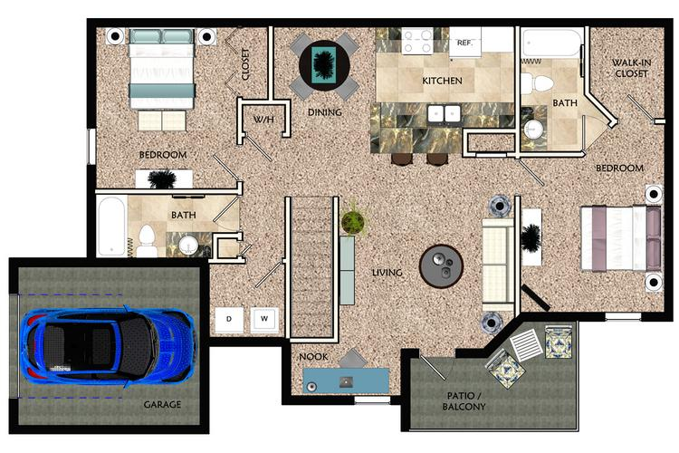 2D | The Genova contains 2 bedrooms and 2 bathrooms in 1423 square feet of living space.