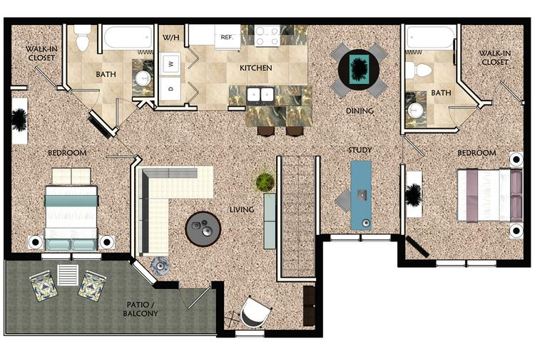 2D | The Milan contains 2 bedrooms and 2 bathrooms in 1502 square feet of living space.