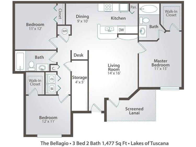 2D | The Bellagio contains 3 bedrooms and 2 bathrooms in 1477 square feet of living space.