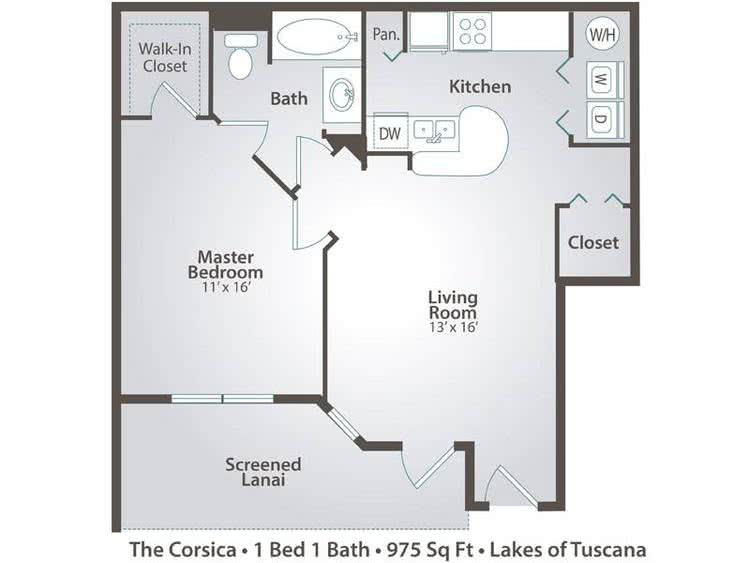 2D | The Corsica contains 1 bedroom and 1 bathroom in 975 square feet of living space.