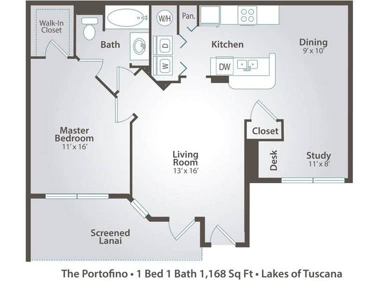 2D | The Portofino contains 1 bedroom and 1 bathroom in 1168 square feet of living space.