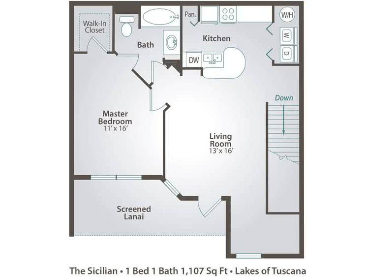 2D | The Sicilian contains 1 bedroom and 1 bathroom in 1107 square feet of living space.