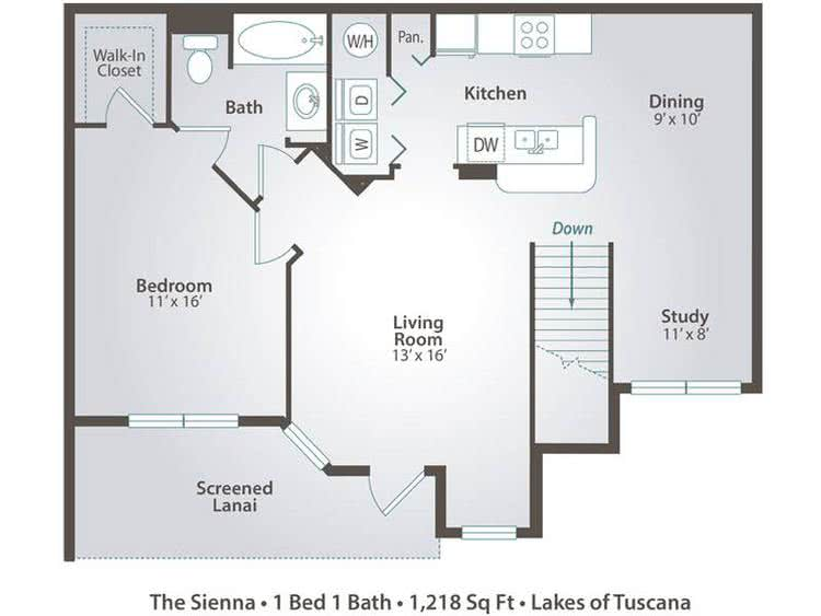 2D | The Sienna contains 1 bedroom and 1 bathroom in 1218 square feet of living space.