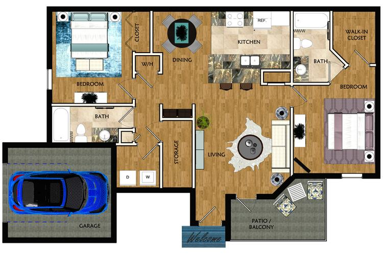 2D | The Venetian contains 2 bedrooms and 2 bathrooms in 1384 square feet of living space.